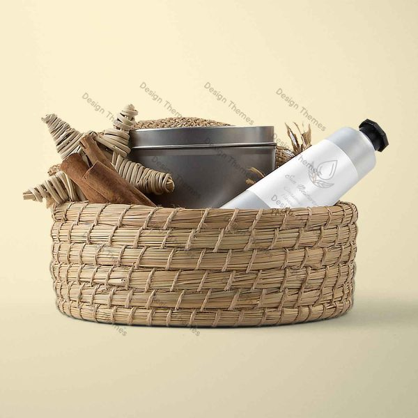 wood basket with items
